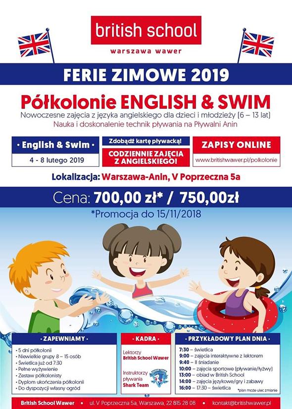 Półkolonie english & swim